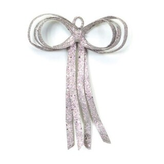 """12"""" Christmas Brites Glitter Drenched Silver Bow Decoration"""