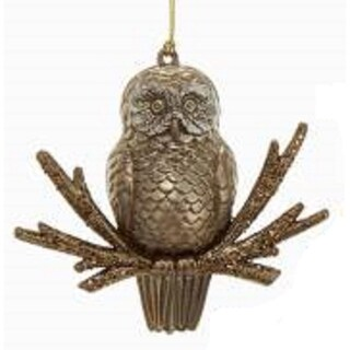 "4"" Holographic Glittered Bronze Owl Decorative Christmas Ornament"