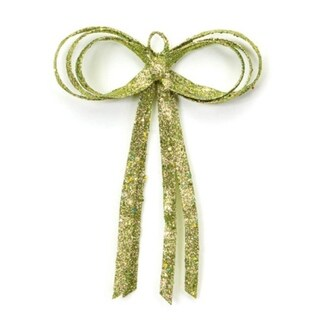 """16"""" Christmas Brites Glitter Drenched Green Bow Decoration"""