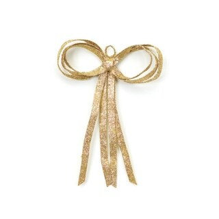 """16"""" Christmas Brites Glitter Drenched Gold Bow Decoration"""