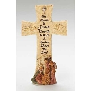 "6.75"" Fontanini Religious Holy Family Christmas Wall Cross with Verse"