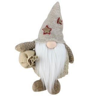 "15"" Nature's Luxury Christmas Gnome with Burlap Sack Tabletop Decoration"