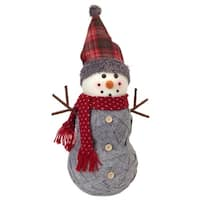 "18.5"" Country Rustic Woven Style Gray Snowman with Plaid Hat Decorative Table Top Christmas Decor"