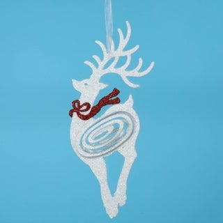 Swirly Glitter Reindeer with Red Bow Christmas Ornament