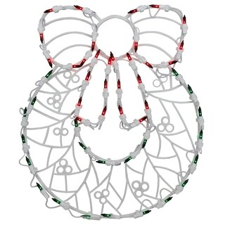 """18"""" Lighted Wreath Christmas Window Silhouette Decoration"""