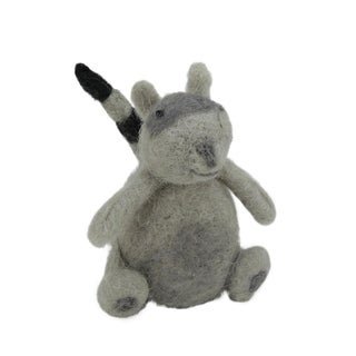 "4.5"" Gray and Black Wool Raccoon Christmas Ornament"