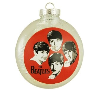 """The Beatles Tinsel Filled Shatterproof Christmas Disk Ornament 4"""" (100mm)"""