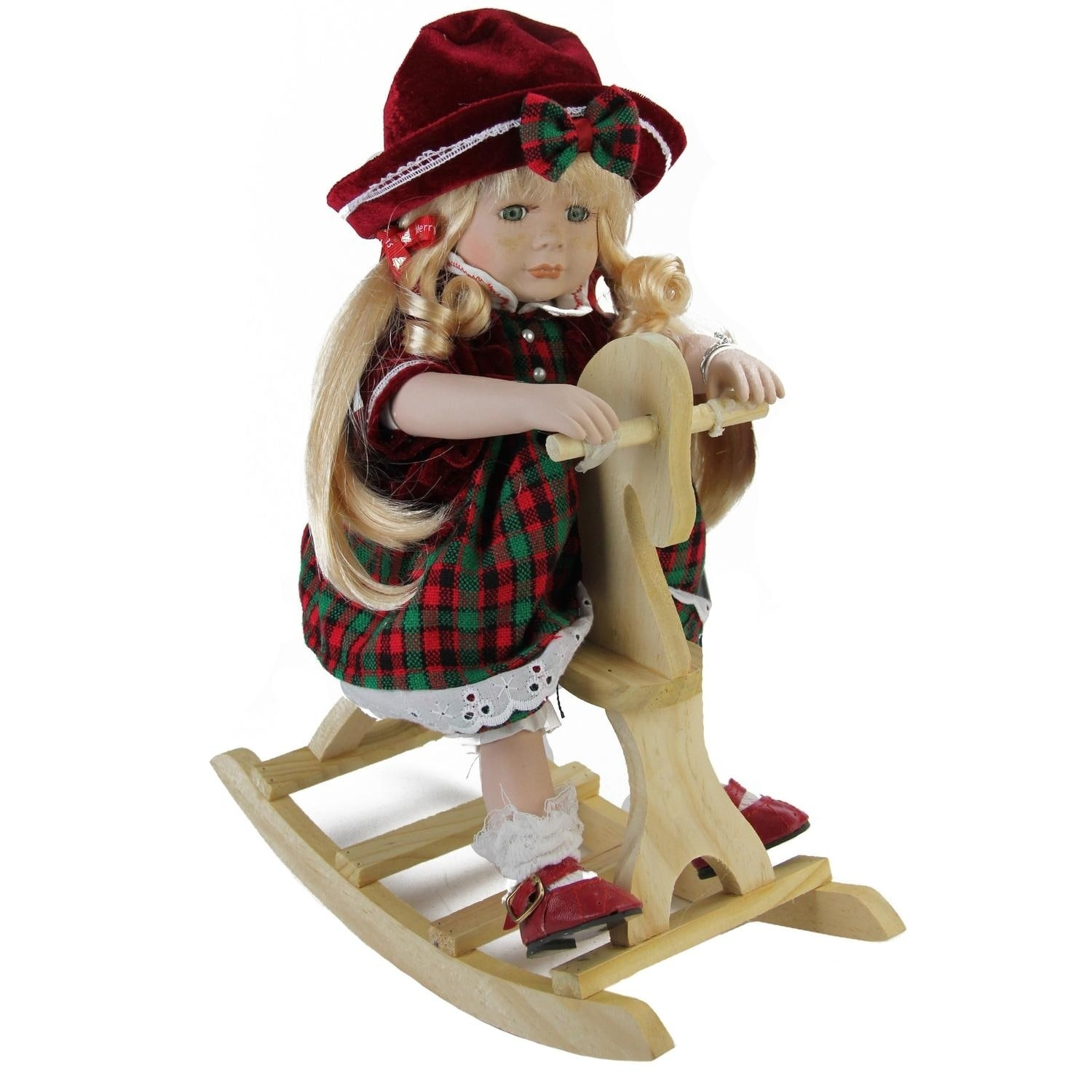 "17.5"" Porcelain ""Jamie"" on Wooden Rocking Horse Collectib..."