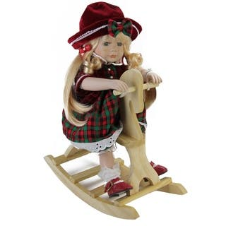 """17.5"""" Porcelain """"Jamie"""" on Wooden Rocking Horse Collectible Christmas Doll