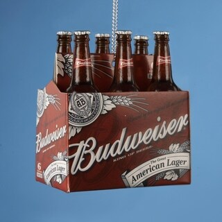 "2.75"" Happy Hour Budweiser 6-Pack of Bottled Beer Christmas Ornament"