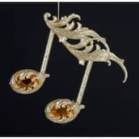 "4.75"" Royal Symphony Gold Glittered Sixteenth Note with Amber Gems Christmas Ornament"