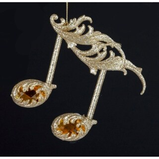 """4.75"""" Royal Symphony Gold Glittered Sixteenth Note with Amber Gems Christmas Ornament"""