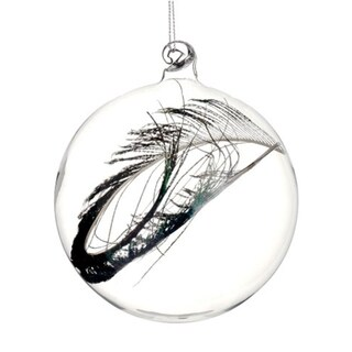 """4.75"""" Regal Peacock Clear Glass Christmas Ball Ornament with Faux Feather"""