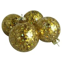"""Pack of 4 Flashy Holographic Gold Sequin Glass Ball Christmas Ornaments 2.5"""""""