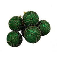 6 December Diamonds Green and Gold Shatterproof Christmas Ball Ornaments 3.75""