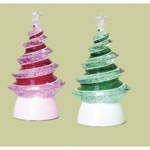 """Set of 2 LED Lighted Color-Changing Swirl Tree Christmas Glitterdomes 8.5"""""""