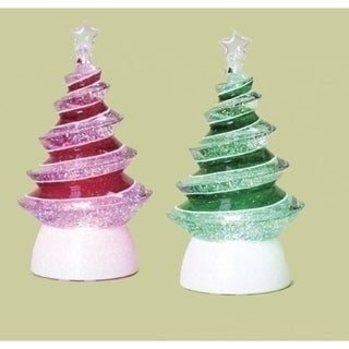 Set of 2 LED Lighted Color-Changing Swirl Tree Christmas Glitterdomes 8.5""