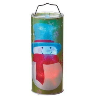 "12"" Battery Operated Transparent Snowman LED Color Changing Lighted Hanging Christmas Lantern"