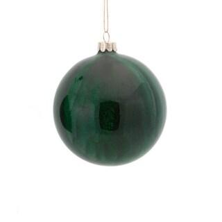 "3.5"" Hunter Green Glitter Marbleized Glass Ball Christmas Ornament"