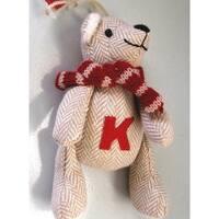 "6.25"" Tan Herringbone Plush Teddy Bear ""K"" Embroidered Christmas Figure Ornament"