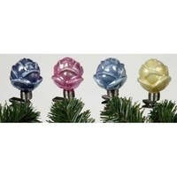 Set of 4 Iridescent Rosebud Clip On Glass Christmas Ornaments #27679