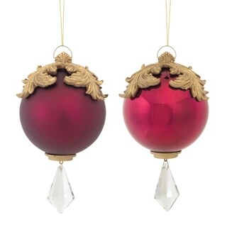 """Set of 2 Red and Gold Raised Acanthus Leaf with Clear Jewel Dangle Christmas Ornament 6.5"""""""