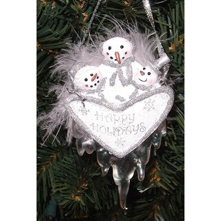 Happy Holidays Snowman Christmas Ornament With Feathers & Icicles