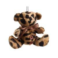 "4.5"" Diva Safari Brown Cheetah Animal Print Teddy Bear Christmas Ornament"