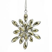 "4.75"" Glamour Time Gold Jeweled Faceted Snowflake Christmas Ornament"