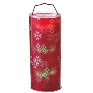"12"" Battery Operated Transparent Red Snowflake LED Color Changing Lighted Hanging Christmas Lantern"