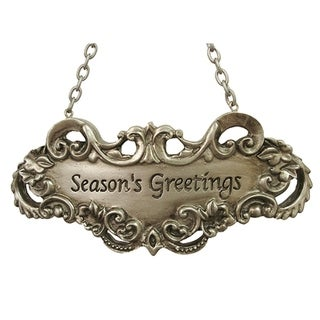 Season's Greetings Silver Wine Label Christmas Ornament