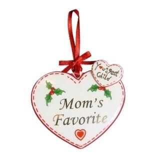 "Avon ""Youngest Child Mom's Favorite"" Porcelain Heart Christmas Ornament"