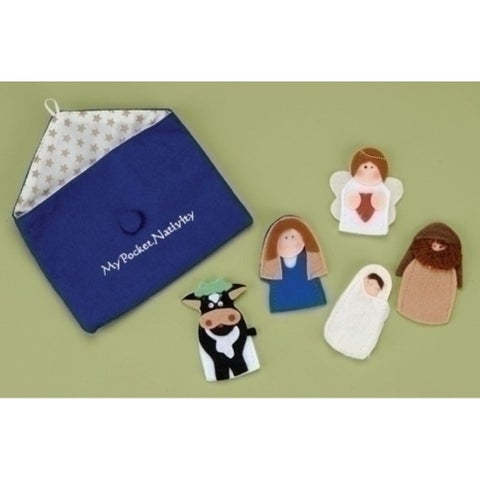 5-Piece My Pocket Nativity Religous Christmas Finger Puppet Set