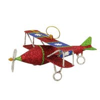 "5"" Glitter Drenched Snowflake Accented Biplane Christmas Ornament"