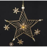 """9"""" Gold Glittered Star with Faux Gem and Pearl Snowflake Flowers Christmas Ornament"""