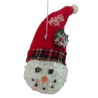 'Twas the Night Snowman Head with Plaid Hat Christmas Ornament