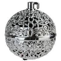 "2.75"" Silver Filigree Chirping Bird Ball Shaped Christmas Ornament"