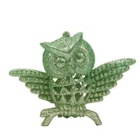 "3.75"" Silent Luxury Pastel Green Glittered Owl Christmas Ornament"