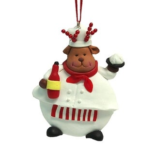 "3.5"" Chubby Reindeer Chef Christmas Ornament"