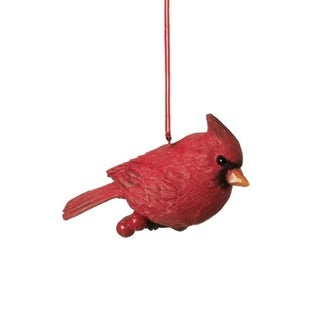 "3"" Red Cardinal Bird on Holly Berry Branch Christmas Ornament"