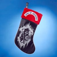 "19"" Black  Silver and Red Faux Leather and Fur ""Son's of Anarchy"" The Reaper Applique Christmas Stocking"