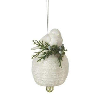 "3"" Good Tidings White Snowy Bird on Branch Christmas Bell Ornament"
