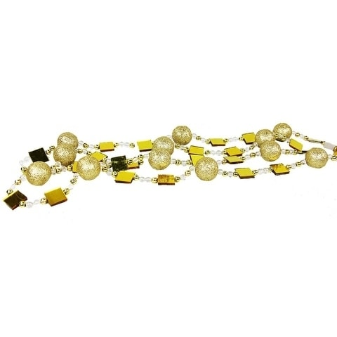 6 gold glitter beaded christmas garland - Beaded Christmas Garland