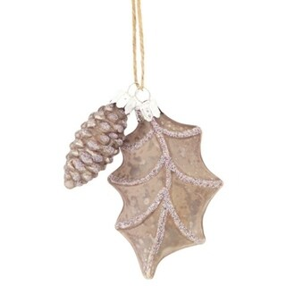 "4"" Speckled Pewter Gray Country Rustic Style Leaf and Pinecone Glass Christmas Ornament"