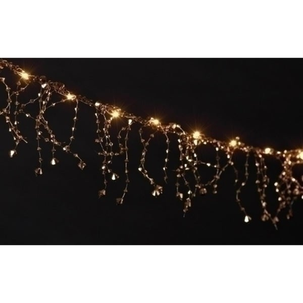 6 battery operated led lighted faceted gold beaded christmas garland