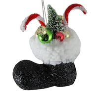 """4.5"""" Santa Claus Classics Black Glitter Boot With Gifts Christmas Tree Ornament"""