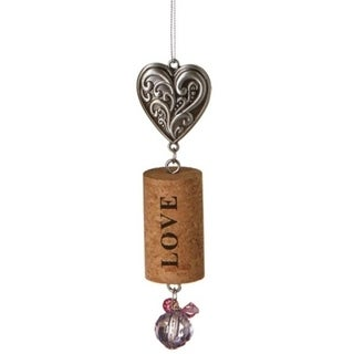 "Tuscan Winery Filigree Heart ""Love"" Inspirational Decorative Purple Faux Gem Accented Wine Cork Christmas Ornament 5.5"""