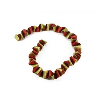 5' Red and Gold Twist Glitter Drenched Swirled Christmas Garland