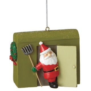 "3"" Smiling Santa in Green Ice House Decorative Christmas Ornament"
