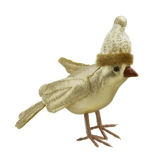"""5"""" Gold Bird Wearing Knitted Winter Hat Christmas Ornament"""